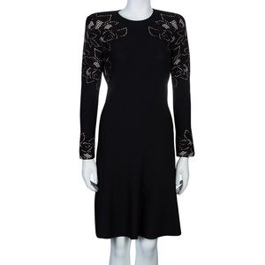 Alexander McQueen Black Knit Long Sleeve Dress